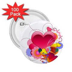 Heart Red Love Valentine S Day 2 25  Buttons (100 Pack)