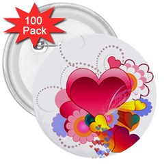 Heart Red Love Valentine S Day 3  Buttons (100 pack)