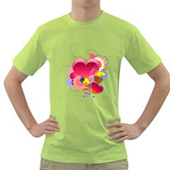 Heart Red Love Valentine S Day Green T-Shirt