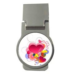 Heart Red Love Valentine S Day Money Clips (round)