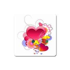 Heart Red Love Valentine S Day Square Magnet