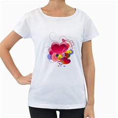 Heart Red Love Valentine S Day Women s Loose Fit T Shirt (white)