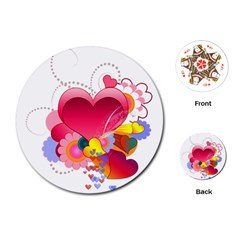 Heart Red Love Valentine S Day Playing Cards (round)