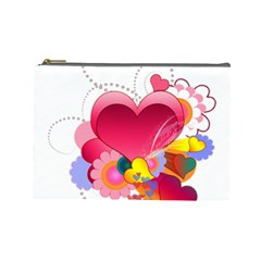 Heart Red Love Valentine S Day Cosmetic Bag (Large)