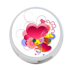 Heart Red Love Valentine S Day 4 Port Usb Hub (two Sides)