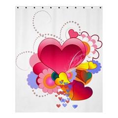 Heart Red Love Valentine S Day Shower Curtain 60  x 72  (Medium)