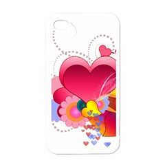 Heart Red Love Valentine S Day Apple Iphone 4 Case (white)