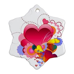Heart Red Love Valentine S Day Ornament (Snowflake)
