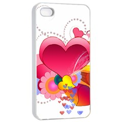 Heart Red Love Valentine S Day Apple iPhone 4/4s Seamless Case (White)