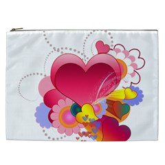 Heart Red Love Valentine S Day Cosmetic Bag (xxl)