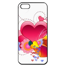 Heart Red Love Valentine S Day Apple iPhone 5 Seamless Case (Black)