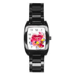 Heart Red Love Valentine S Day Stainless Steel Barrel Watch