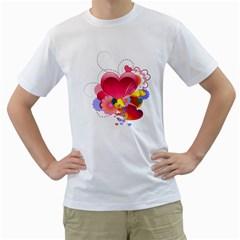 Heart Red Love Valentine S Day Men s T Shirt (white)
