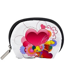 Heart Red Love Valentine S Day Accessory Pouches (small)