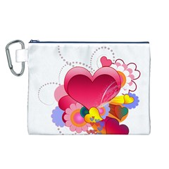 Heart Red Love Valentine S Day Canvas Cosmetic Bag (l)