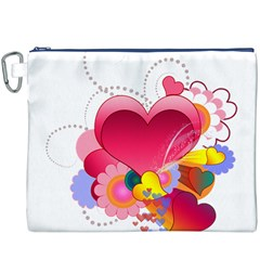 Heart Red Love Valentine S Day Canvas Cosmetic Bag (XXXL)