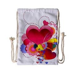 Heart Red Love Valentine S Day Drawstring Bag (small)