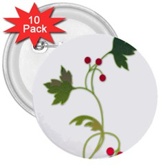 Element Tag Green Nature 3  Buttons (10 pack)