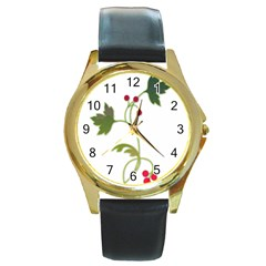 Element Tag Green Nature Round Gold Metal Watch