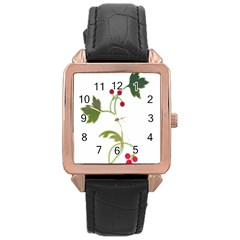 Element Tag Green Nature Rose Gold Leather Watch