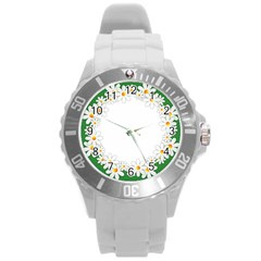 Photo Frame Love Holiday Round Plastic Sport Watch (l)