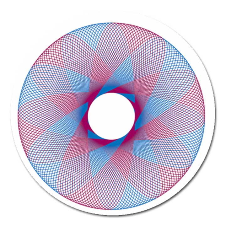 Spirograph Pattern Drawing Design Magnet 5  (Round)