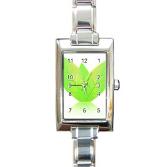 Leaves Green Nature Reflection Rectangle Italian Charm Watch