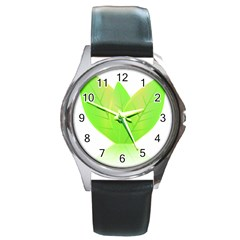 Leaves Green Nature Reflection Round Metal Watch