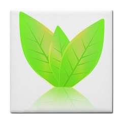 Leaves Green Nature Reflection Tile Coasters