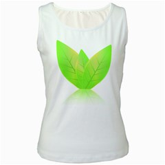 Leaves Green Nature Reflection Women s White Tank Top