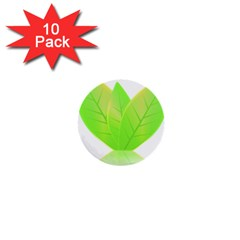 Leaves Green Nature Reflection 1  Mini Buttons (10 Pack)
