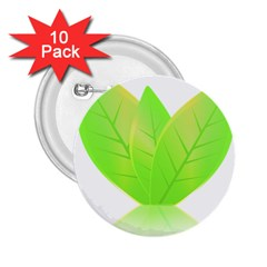 Leaves Green Nature Reflection 2 25  Buttons (10 Pack)