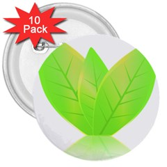 Leaves Green Nature Reflection 3  Buttons (10 pack)