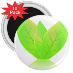Leaves Green Nature Reflection 3  Magnets (10 Pack)