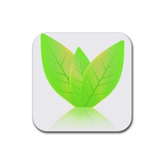 Leaves Green Nature Reflection Rubber Coaster (Square)