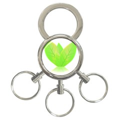 Leaves Green Nature Reflection 3 Ring Key Chains