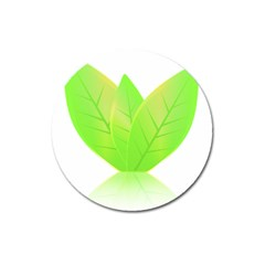 Leaves Green Nature Reflection Magnet 3  (Round)