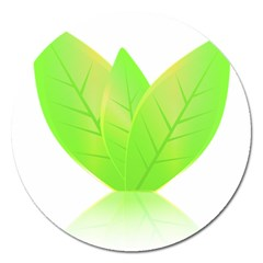 Leaves Green Nature Reflection Magnet 5  (Round)