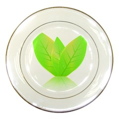 Leaves Green Nature Reflection Porcelain Plates