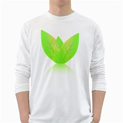 Leaves Green Nature Reflection White Long Sleeve T Shirts