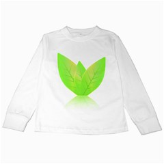 Leaves Green Nature Reflection Kids Long Sleeve T Shirts