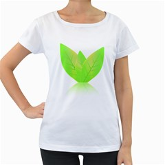 Leaves Green Nature Reflection Women s Loose-Fit T-Shirt (White)
