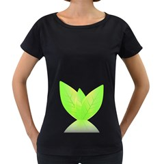 Leaves Green Nature Reflection Women s Loose-Fit T-Shirt (Black)