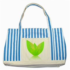 Leaves Green Nature Reflection Striped Blue Tote Bag
