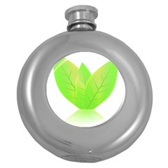 Leaves Green Nature Reflection Round Hip Flask (5 Oz)