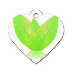Leaves Green Nature Reflection Dog Tag Heart (one Side)