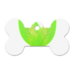 Leaves Green Nature Reflection Dog Tag Bone (one Side)