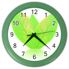 Leaves Green Nature Reflection Color Wall Clocks