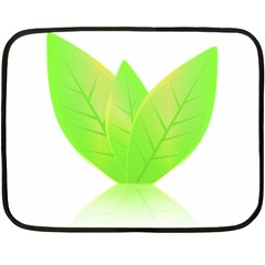 Leaves Green Nature Reflection Fleece Blanket (mini)