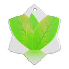 Leaves Green Nature Reflection Snowflake Ornament (two Sides)